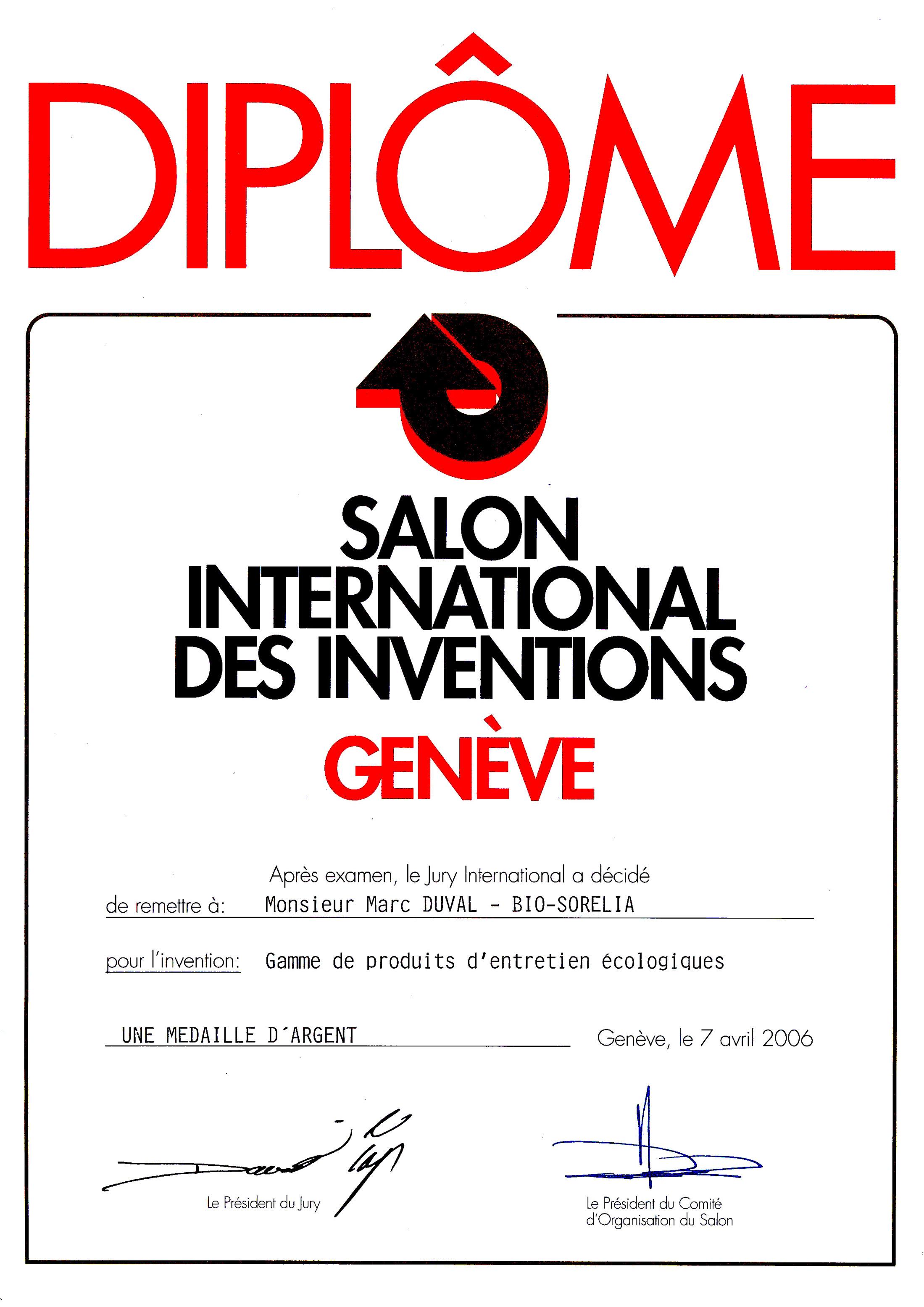 Médaille d'Argent pour Bio-Sorélia au Salon Mondial des Inventions de Genève