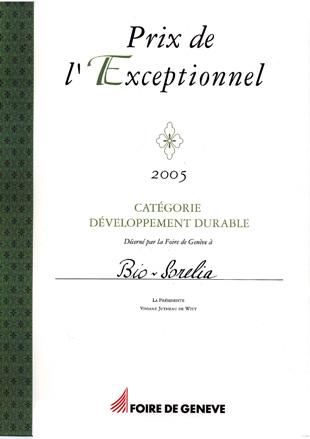 Le Prix de l'Exceptionnel pour Bio-Sorélia à Genève